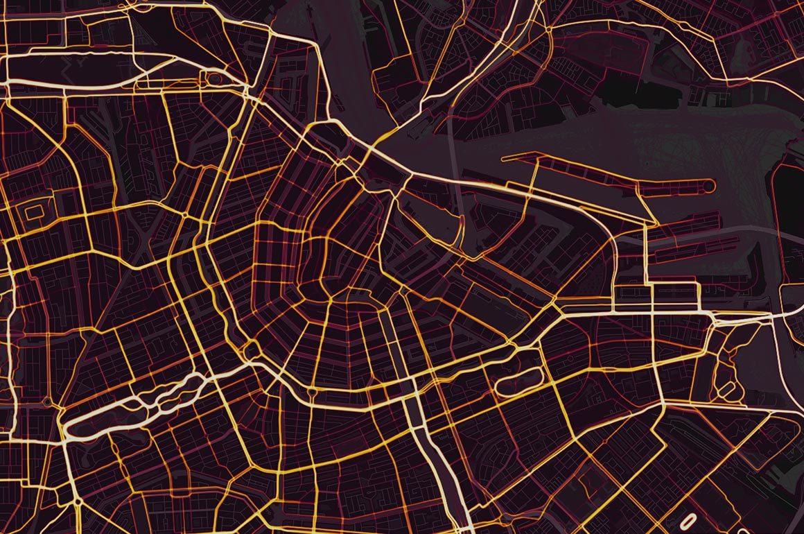 De heatmap van Strava, ingezoomd op Amsterdam.